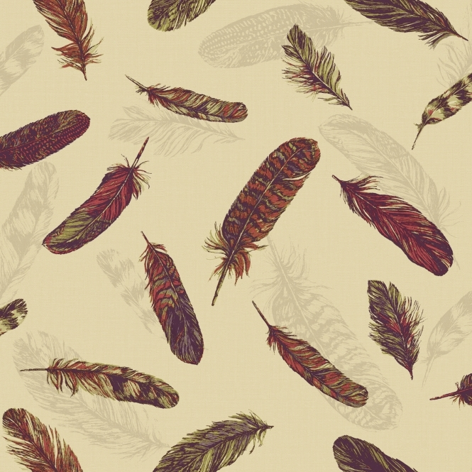 Arthouse Vintage Plume Feather Wallpaper Raspberry, Green (252803)