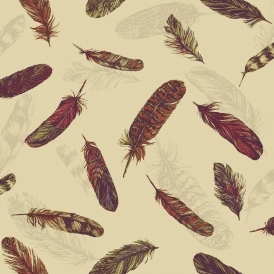 Vintage Plume Feather Wallpaper Raspberry, Green (252803)
