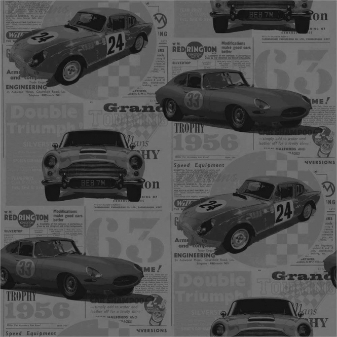 Fine Decor Vintage Race Cars Kids Bedroom Wallpaper Grey (FD40393)