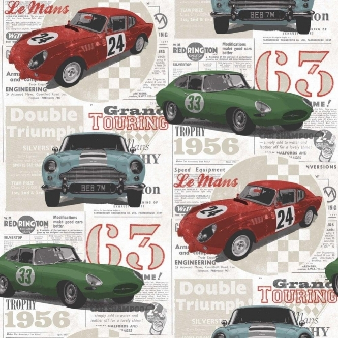 Fine Decor Vintage Race Cars Kids Bedroom Wallpaper Red / Green / Blue (FD40283)