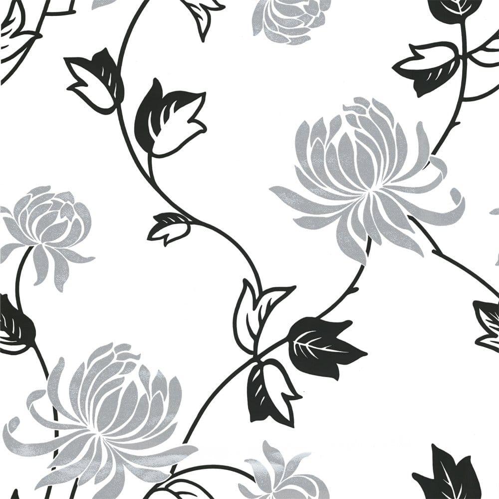 Vintage riva motif wallpaper black white silver 530906
