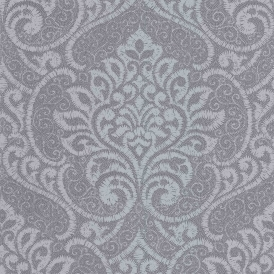 Vision Lupus Damask Wallpaper Pewter Silver