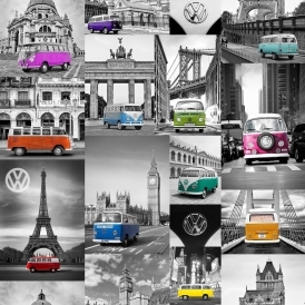 VW City Campers Wallpaper Blue Pink Orange