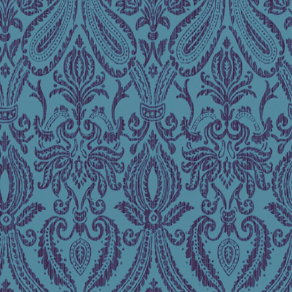 Adalia Damask Wallpaper Teal Purple M0445