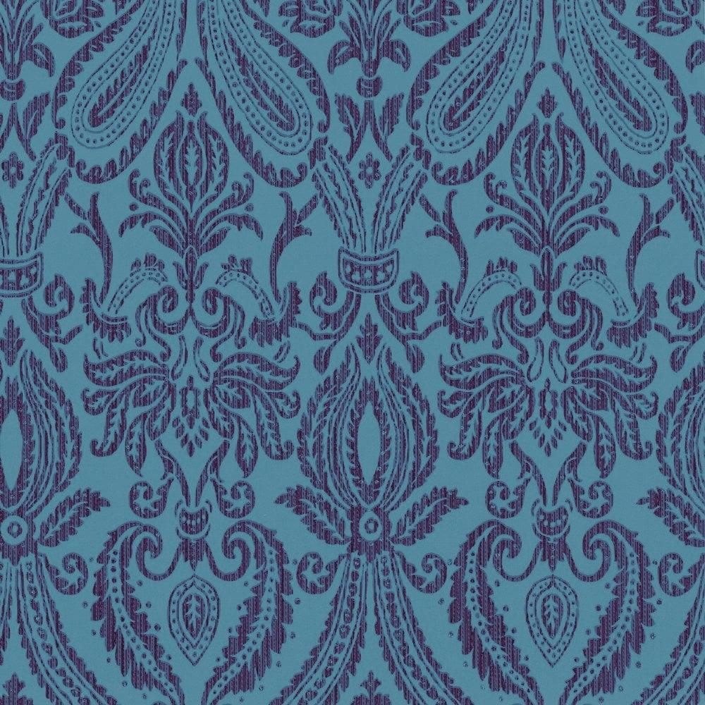 Adalia Damask Wallpaper Teal Purple M0445