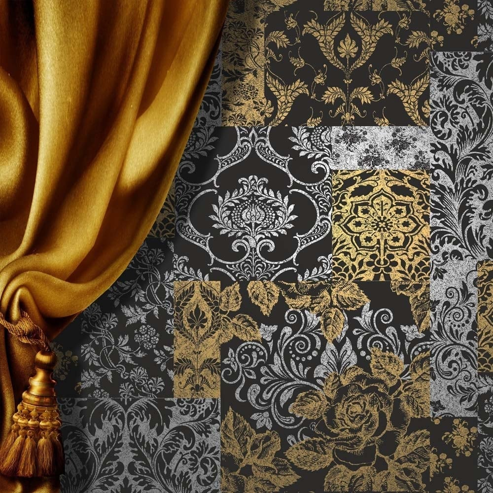 Brocade Patchwork Wallpaper Silver Gold Black M0892