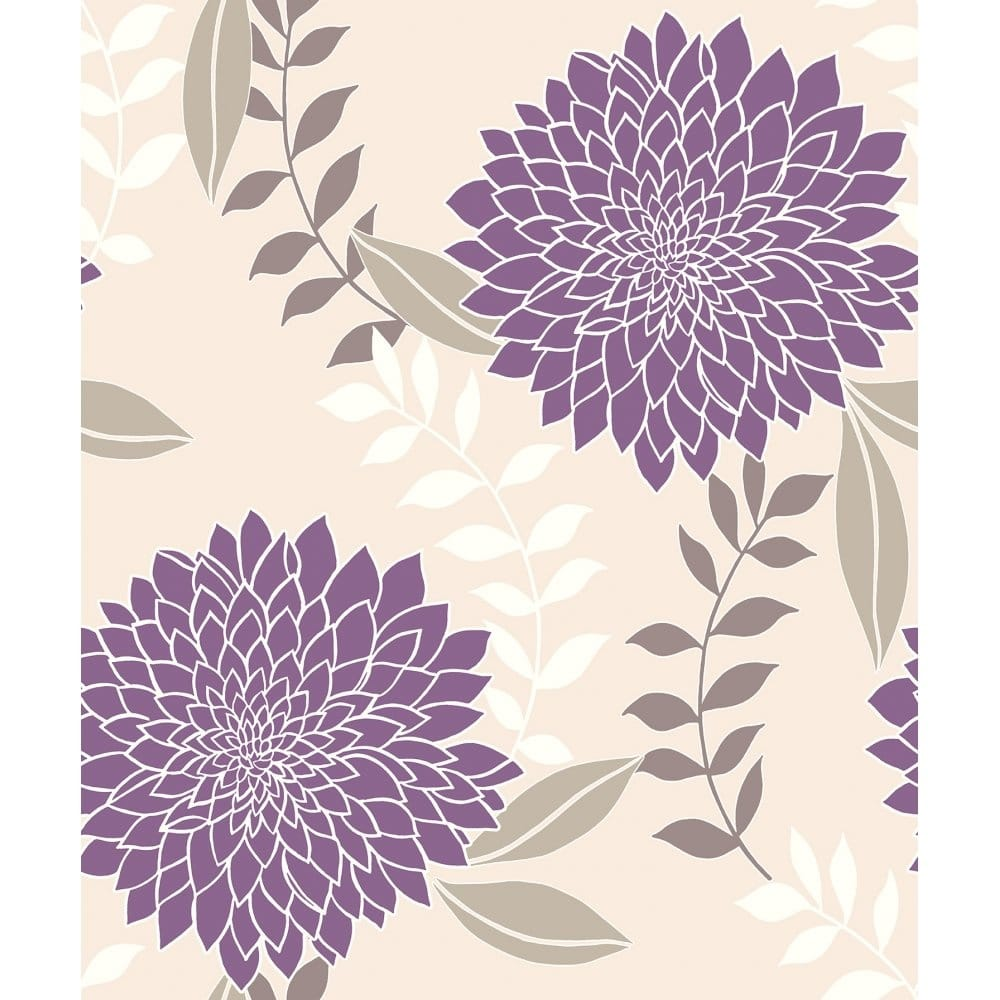 Vymura Clarissa Floral Wallpaper Bright Purple Cream