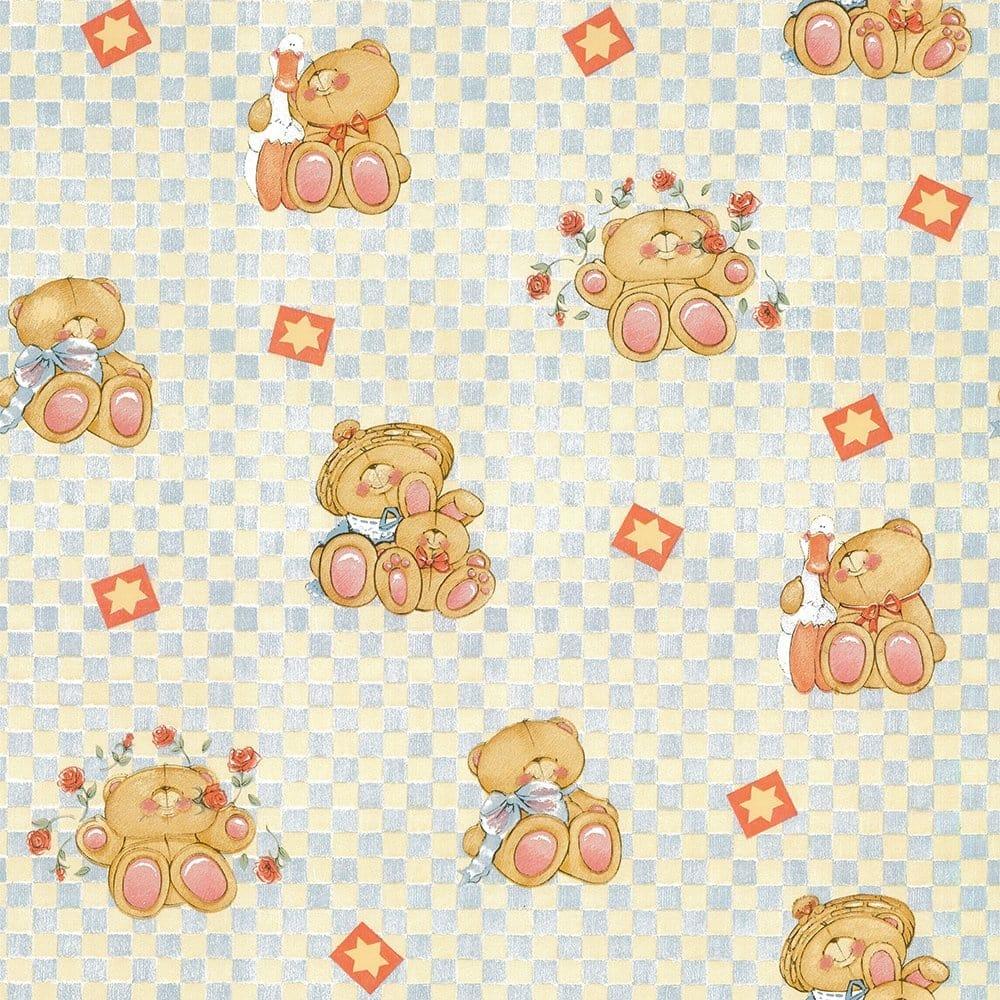 Forever Friends Teddy Bear Wallpaper Blue Cream 71 131