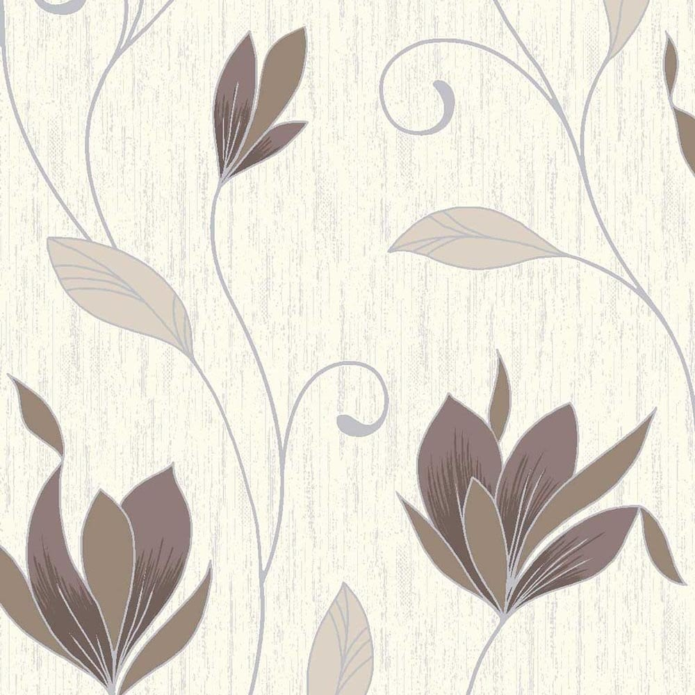 Vymura Synergy Glitter Floral Wallpaper Cream Brown Silver - Brown and cream wallpaper