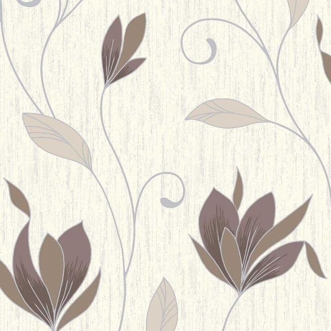 Vymura Synergy Glitter Floral Wallpaper Cream / Brown / Silver (M0780)