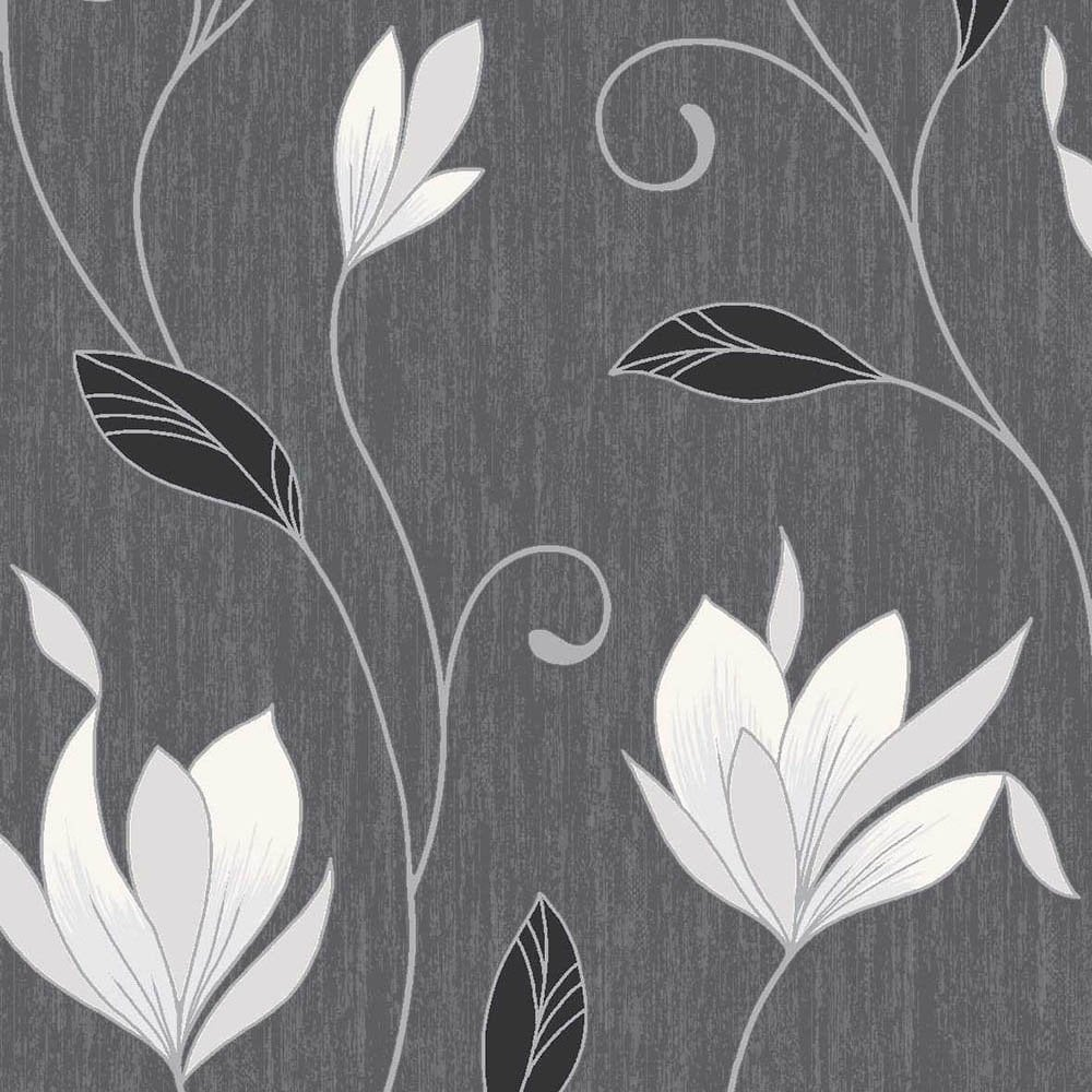 Synergy Glitter Floral Wallpaper Ebony Black White Silver M0783