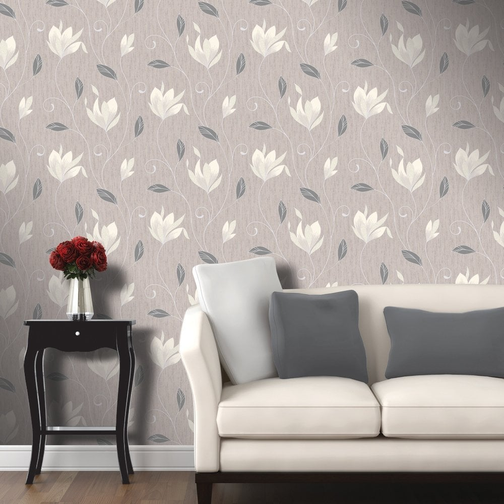 Vymura Synergy Glitter Floral Wallpaper Taupe Cream Silver