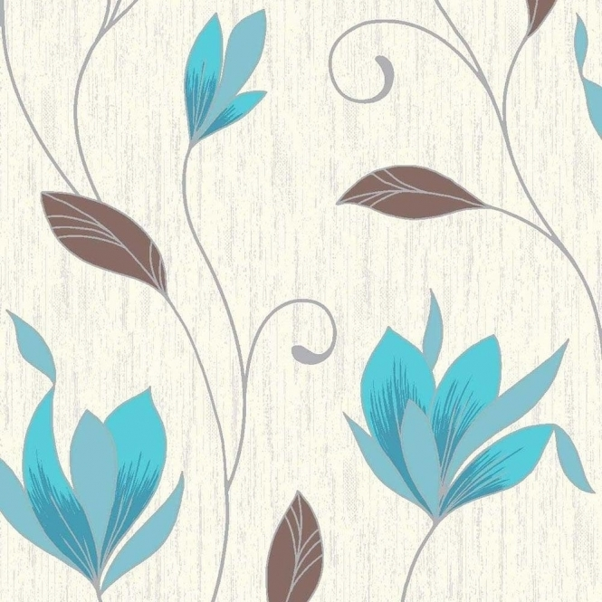 Vymura Synergy Glitter Floral Wallpaper White / Teal / Silver (M0779)