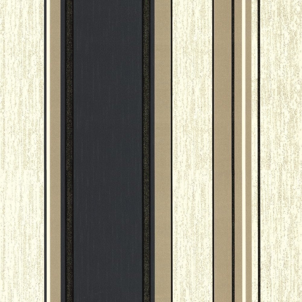 Vymura synergy striped wallpaper cream gold black m0909 for Grey and cream wallpaper