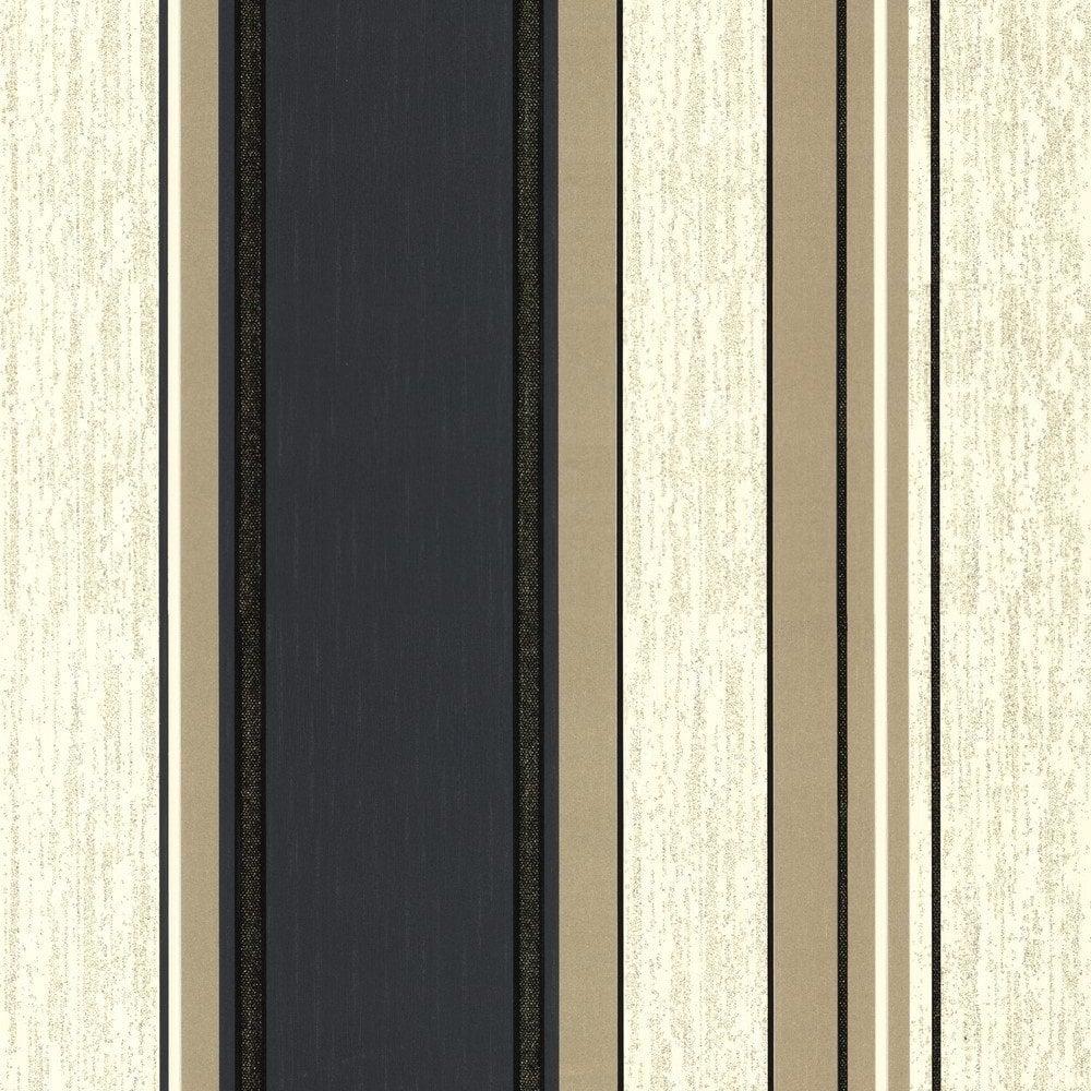 Vymura Synergy Striped Wallpaper Cream Gold Black M0909