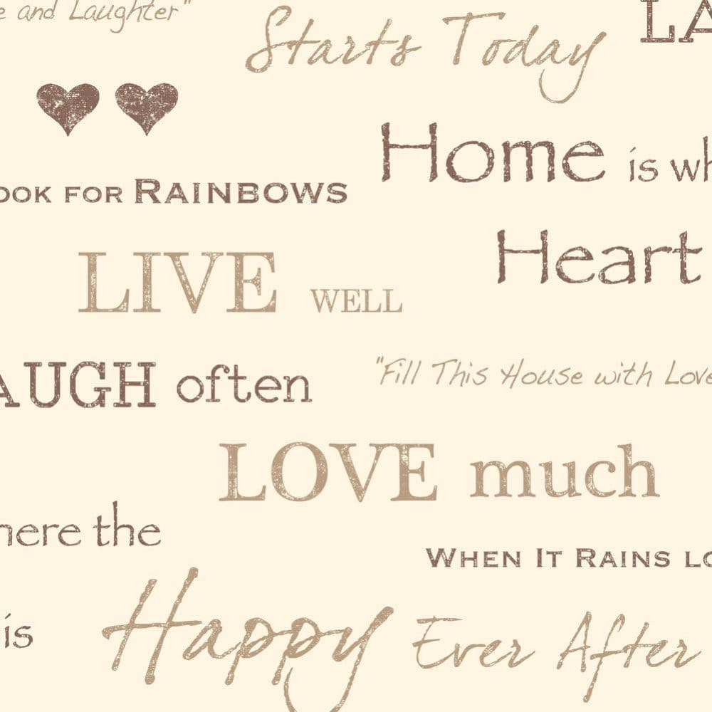 Wall Words Live Love Laugh Wallpaper Chocolate Gold Cream