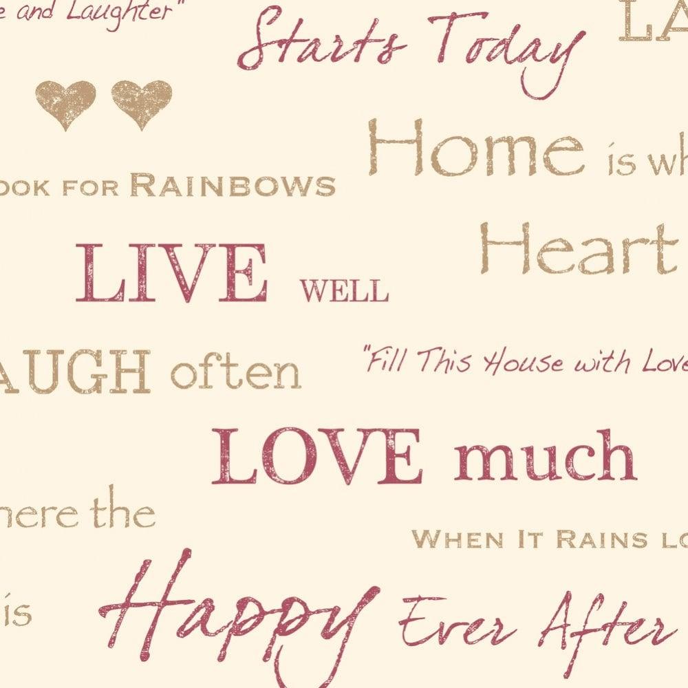 Fine Decor Wall Words Live Love Laugh Wallpaper Red Gold Cream