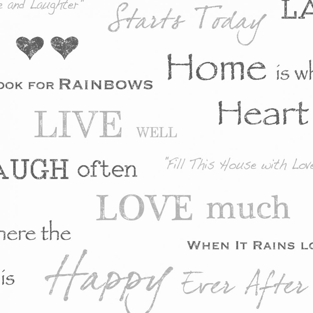 Fine Decor Wall Words Live Love Laugh Wallpaper White Grey Charcoal