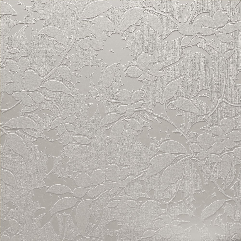 White Textures Aria Floral Leaf Paintable Wallpaper White