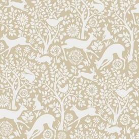Wildlife Animal Wallpaper Beige