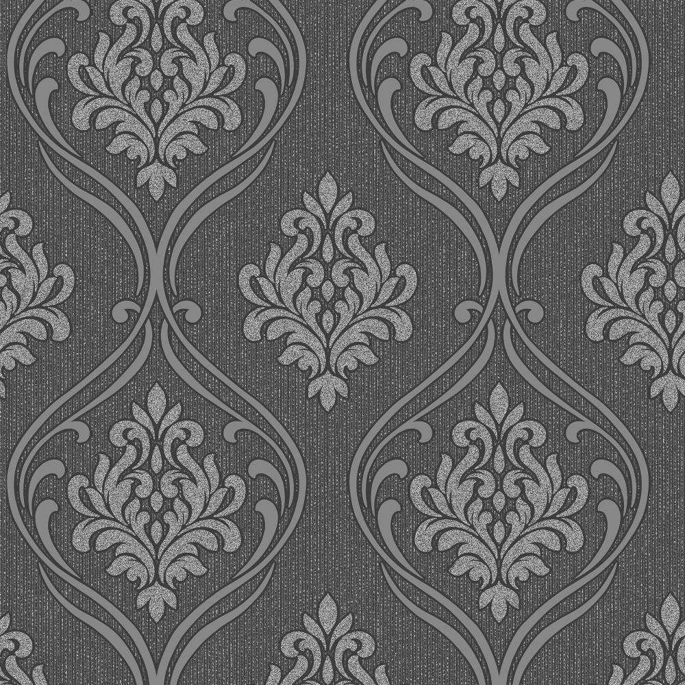 Winchester Damask Wallpaper Black Silver Fd40659 Wallpaper
