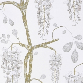 Wisteria Hand Screen Printed Floral Wallpaper Pearl