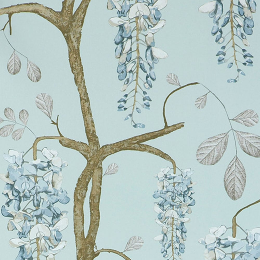 Floral Wallpaper in Blue Cream White Green for a Romantic Loving Wisteria