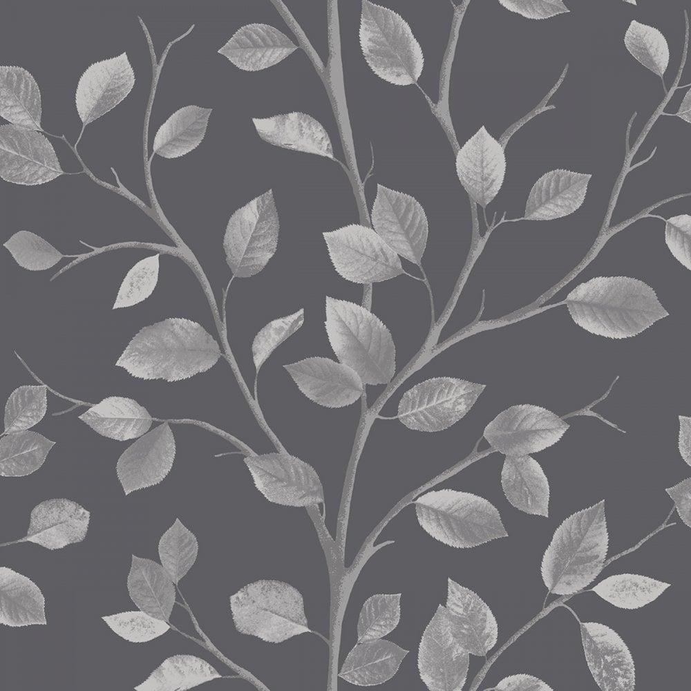 Fine Decor Woodland Leaf Wallpaper Black Silver Fd40672