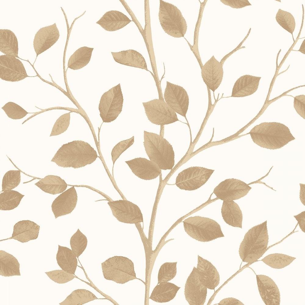 Fine Decor Woodland Leaf Wallpaper Cream Gold Fd40671