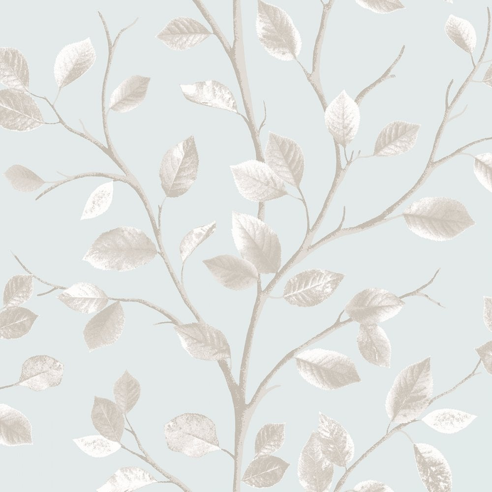 Woodland Leaf Wallpaper Teal Metallic Beige Fd40670