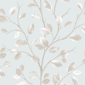 Woodland Leaf Wallpaper Teal, Metallic Beige (FD40670)