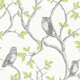 Woodland Owls Wallpaper Green, Grey, Cream (FD40637)