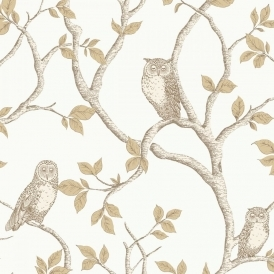 Woodland Owls Wallpaper Natural Cream, Gold (FD40639)