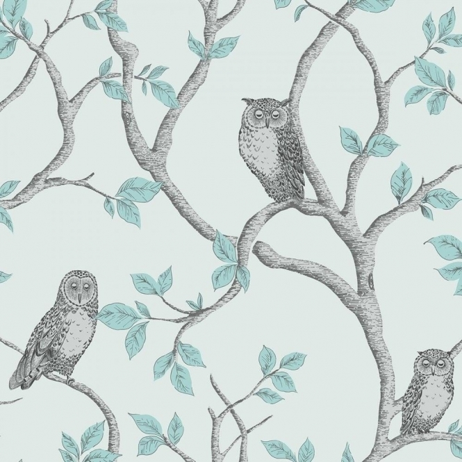 Fine Decor Woodland Owls Wallpaper Teal, Grey (FD40638)