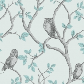 Woodland Owls Wallpaper Teal Grey