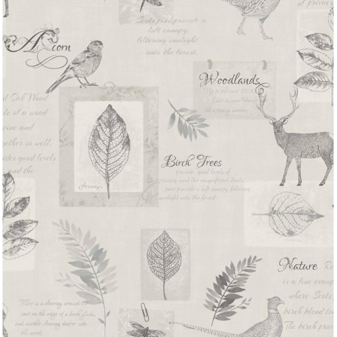 Fine Decor Woodland Stag Wallpaper Grey / Silver (FD40750)