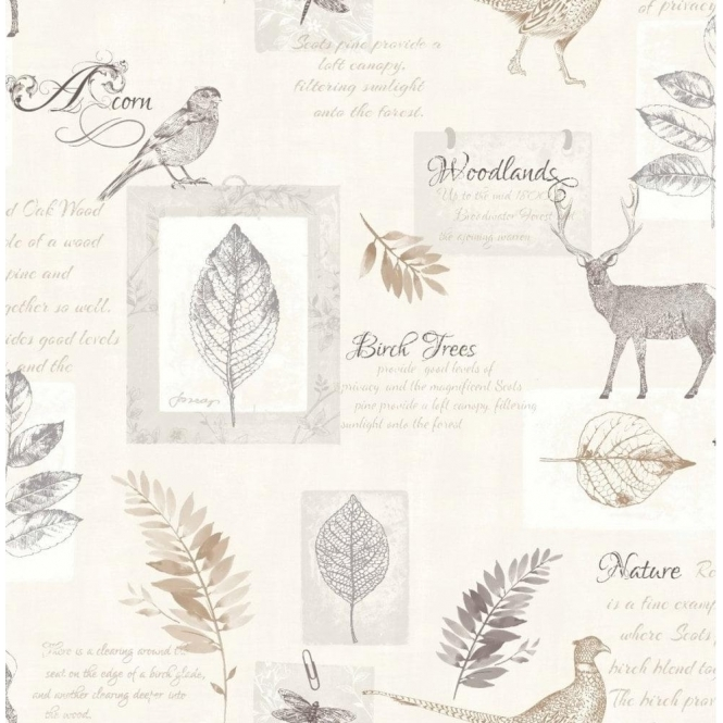 Fine Decor Woodland Stag Wallpaper Taupe / Silver (FD40751)