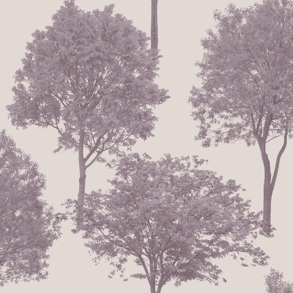 Fine Decor Woodland Trees Wallpaper Natural Heather Plum