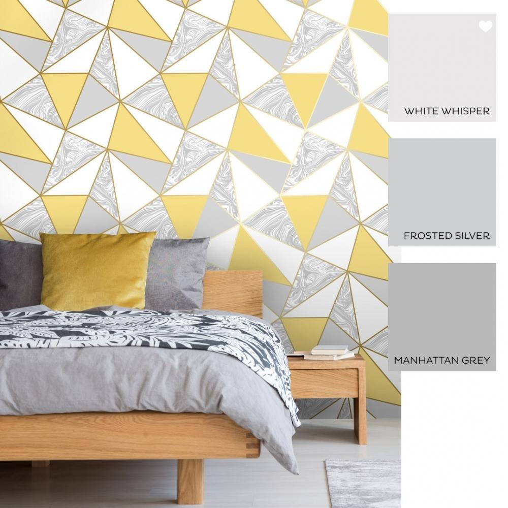 Zara Marble Metallic Wallpaper Mustard Gold