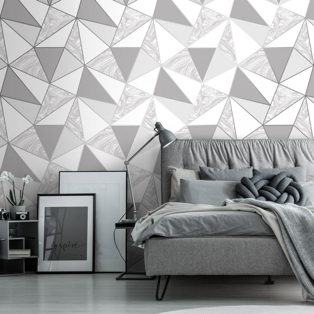 Zara Marble Metallic Wallpaper Soft Grey Silver