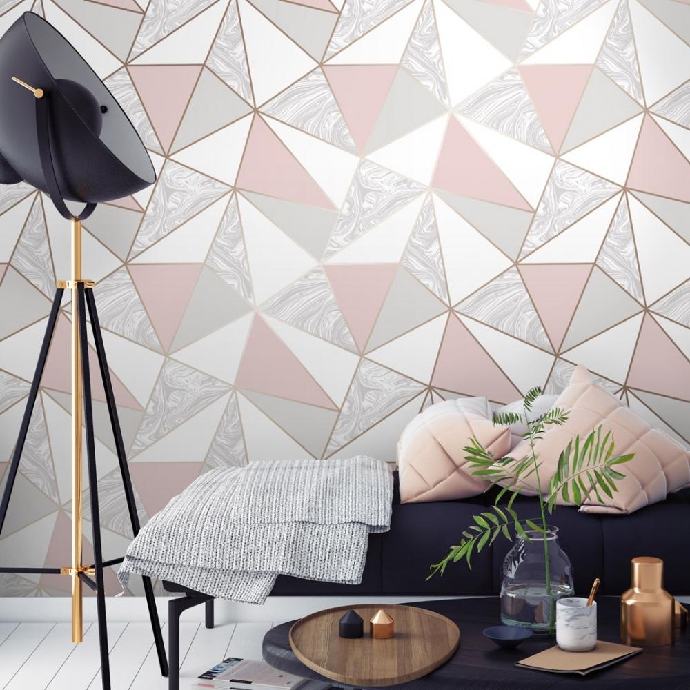 Zara Marble Metallic Wallpaper Soft Pink Rose Gold Wallpaper