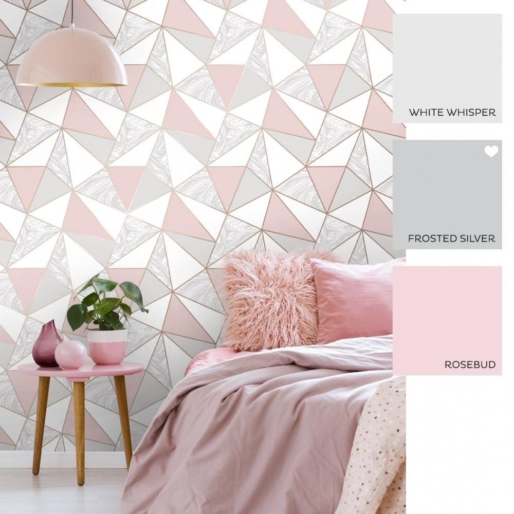 Zara Marble Metallic Wallpaper Soft Pink Rose Gold