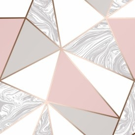Zara Marble Metallic Wallpaper Soft Pink Rose Gold
