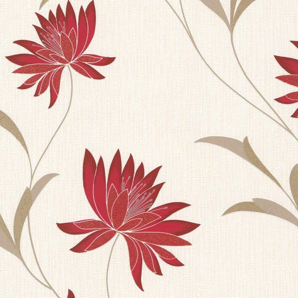 Belgravia Decor Zoe Berry Wallpaper Red Cream Beige