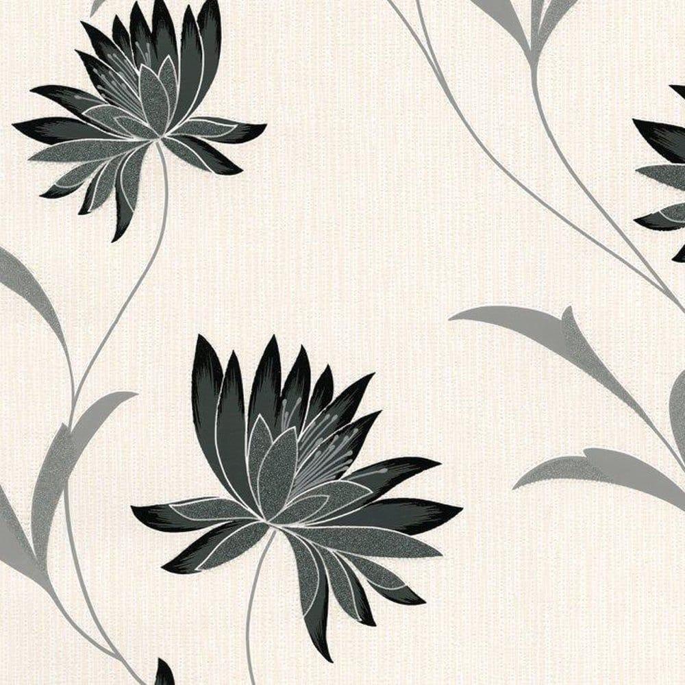 Zoe Black Wallpaper Black Grey Cream 211 Wallpaper