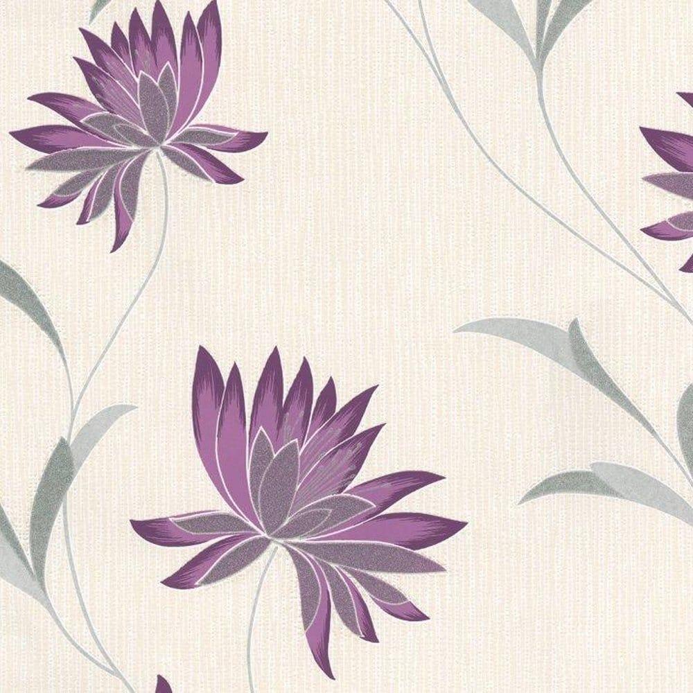 Zoe Plum Wallpaper Purple Grey Cream 210 Wallpaper